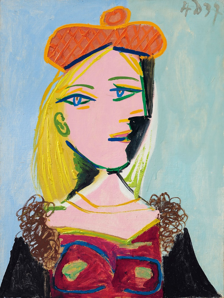 Pablo Picasso (1881-1973), Femme au béret orange et au col de fourrure (Marie‐Thérèse), executed 4 December 1937. Oil on canvas. 24⅛ x 18⅛ in (61.2 x 46.1 cm). Estimate $15,000,000-20,000,000. Offered in the Impressionist and Modern Art Evening Sale on 11 November at Christie's in New York © 2018 Estate of Pablo Picasso  Artists Rights Society (ARS), New York