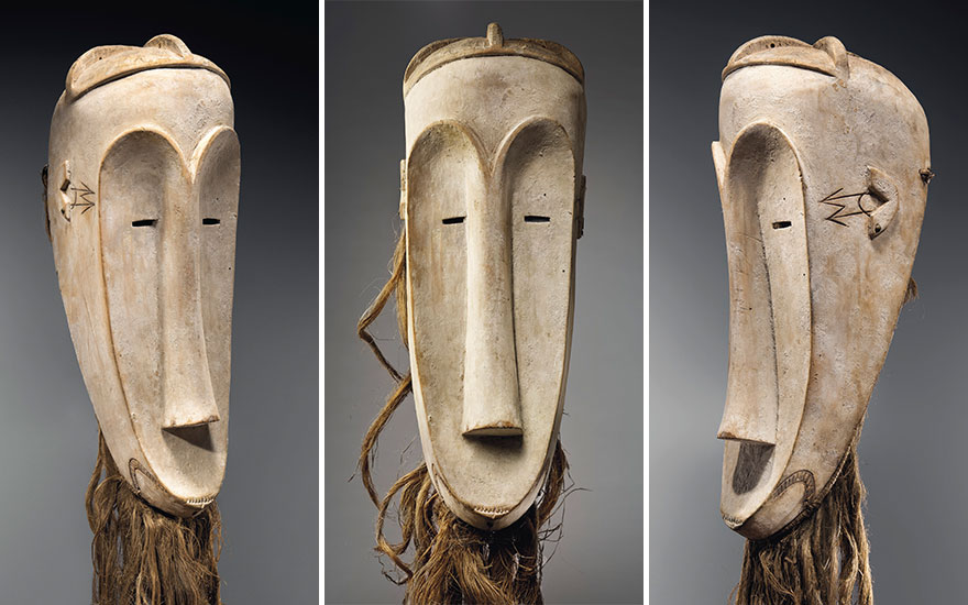 A Fang Ngil  mask, Gabon. Height 59 cm (23¼ in). Sold for €2,407,500 on 30 October 2018 at Christie's in Paris