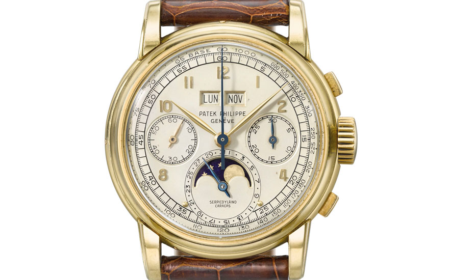 Patek Philippe. An exceptional 18K gold perpetual calendar chronograph wristwatch with moon phases, Signed Patek Philippe, Genève, retailed by Serpico y Laino, Caracas, ref. 2499. First series,