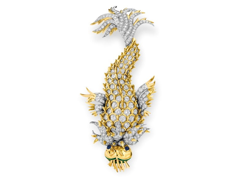 The 'Night of the Iguana' brooch — a diamond, sapphire and emerald 'Dolphin' brooch, by Jean Schlumberger, Tiffany & Co. Sold for $1,202,500 on 13 December 2011 at Christie's in New York