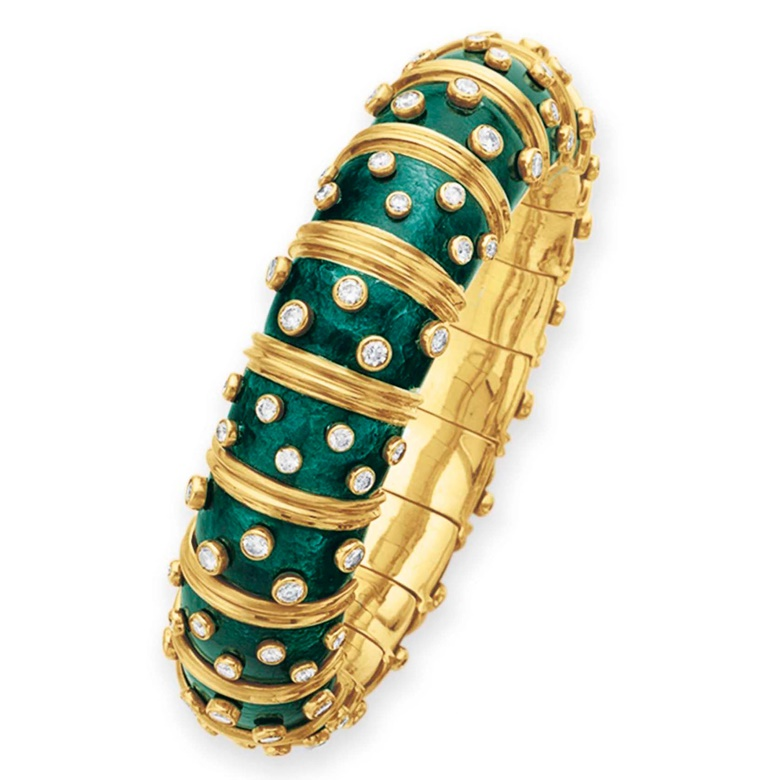 A diamond and green enamel bangle, by Jean Schlumberger, Tiffany & Co. Sold for $32,500 on 10 December 2012 at Christie's in New York