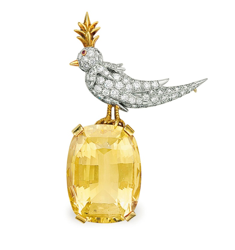 A diamond, citrine and ruby 'Bird on a Rock' brooch, by Jean Schlumberger, Tiffany & Co. Sold for $27,500 on 7 December 2016 at Christie's in New York