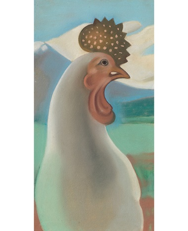 Georgia O'Keeffe (1887-1986), Porcelain Rooster, executed in 1929. 15 x 8⅛ in (38.1 x 20.6 cm). Sold for $324,500 on 20 November 2018 at Christie's in New York © 2018 Georgia OKeeffe Museum  Artists Rights Society (ARS), New York