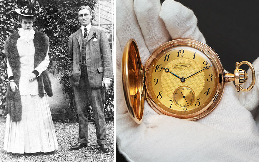 From left Franklin and Eleanor Roosevelt on their honeymoon in 1905. Courtesy of the Franklin D. Roosevelt Library Archives. Audemars Frères. A historically important 18k gold hunter case