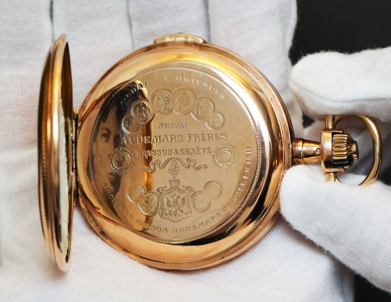 The Audemars Frères hunter case pocket watch is thought to have been given to Franklin D. Roosevelt by his bride, Eleanor, on their wedding day. His initials are engraved on the back of the case