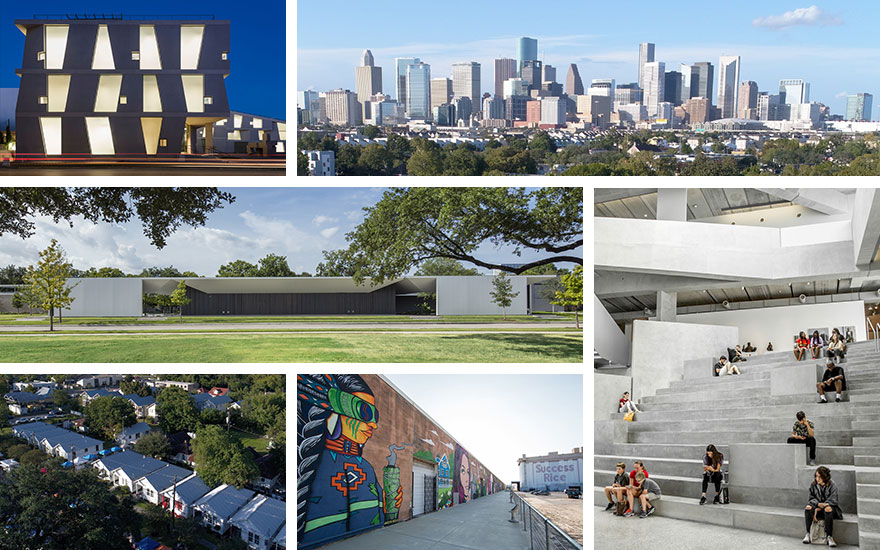 Clockwise from top left the Glassell School of Art, part of the Museum of Fine Arts, Houston, opened in May 2018. Photo © Richard Barnes. The Houston skyline. Photo courtesy of Project Row