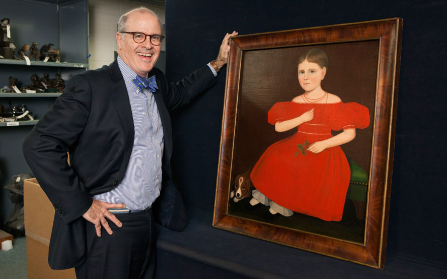 John Hays pictured with Ammi Phillips (1788-1865), Portrait of a Girl in a Red Dress, circa 1834. Sold for $1,692,500 on 17-18 January 2019 at Christie's in New York