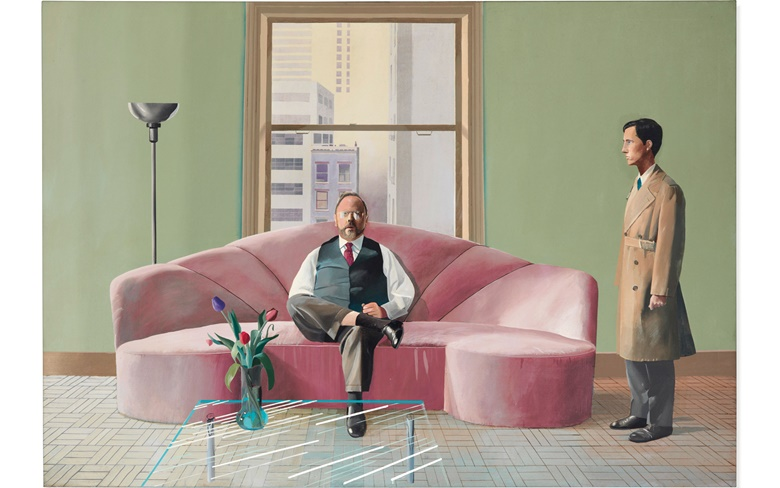 David Hockney (b. 1937), Henry Geldzahler and Christopher Scott, 1969. Acrylic on canvas. 84 x 120 in (214 x 305 cm). Sold for £37,661,250 on 6 March 2019 at Christie's in London. Artwork © David Hockney