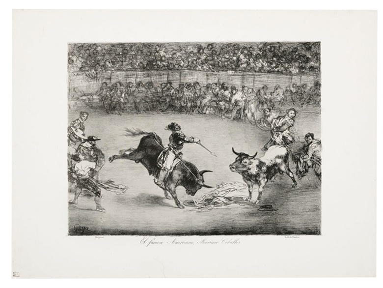 Francisco de Goya y Lucientes (1746-1828), El Famoso Americano, Mariano Ceballos, from The Bulls of Bordeaux, 1825. Lithograph on wove paper. Image 310 x 405  mm. Sheet 430 x 585  mm. Estimate £20,000-30,000. Offered in Old Master Prints on 10 December 2019 at Christie's in London