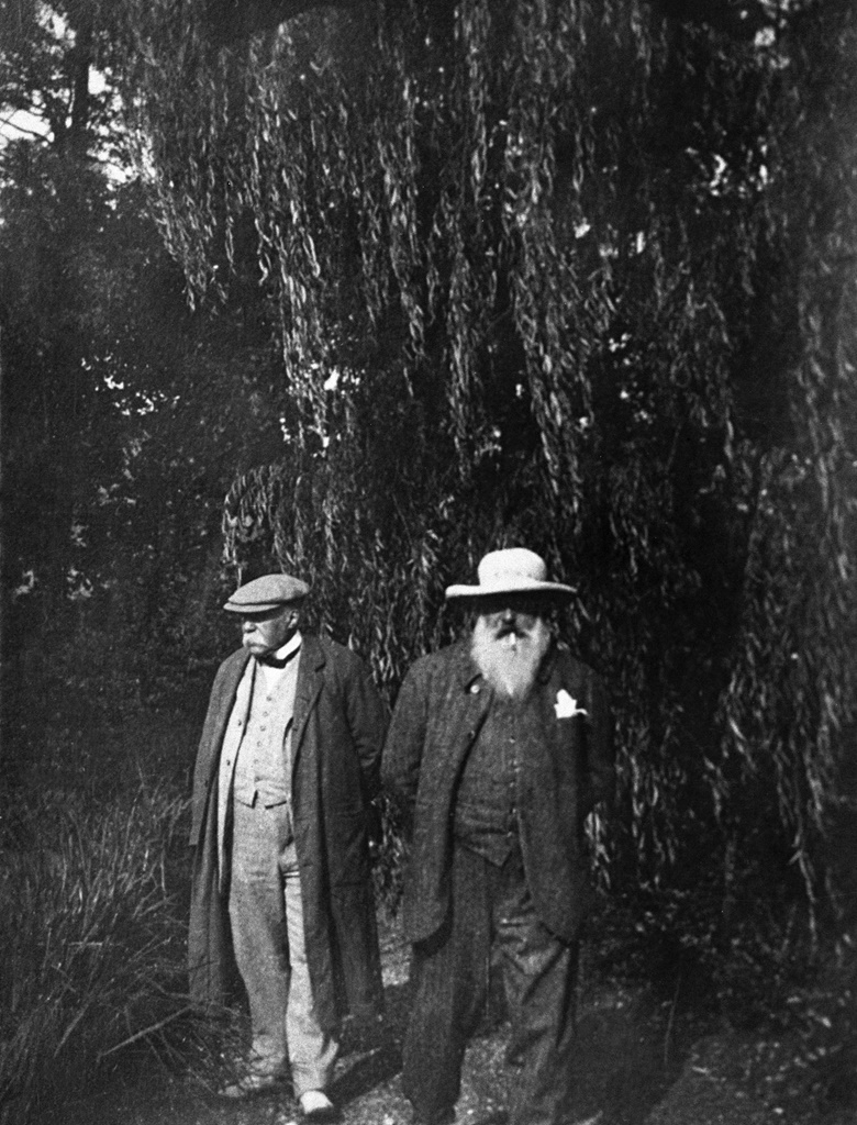 Georges Clemenceau (left) and Claude Monet in the garden at Giverny. Photo Private Collection  Roger-Viollet, Paris  Bridgeman Images