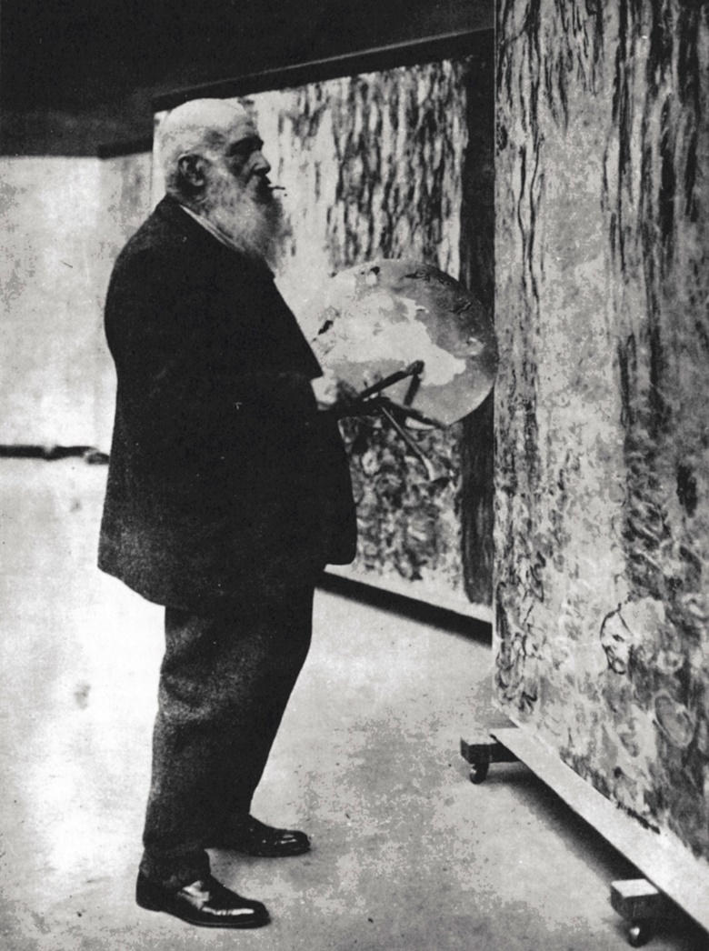 Monet in his studio in 1920, working on the Grandes décorations. Photo Private Collection  Roger-Viollet, Paris  Bridgeman Images
