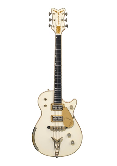 The Fred Gretsch Manufacturing Company, Brooklyn, 1958. A solid-body electric guitar, White Penguin, 6134. Estimate $100,000-150,000. Offered in the David Gilmour Guitar Collection on 20 June at Christie's in New York