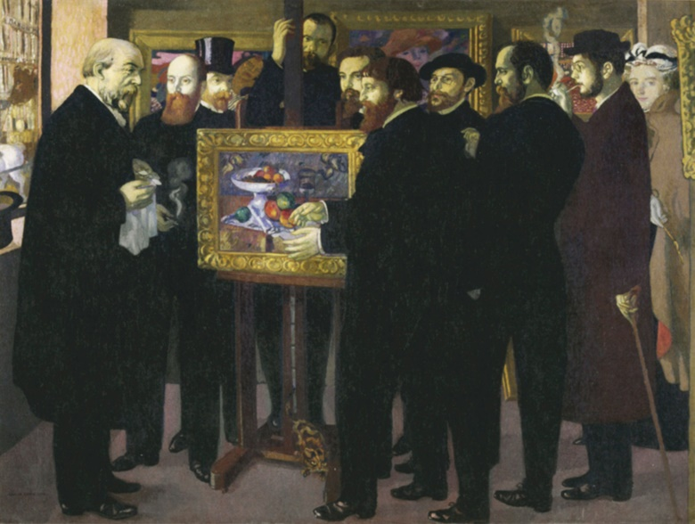 Maurice Denis' Hommage à Cézanne, 1900-1901, in which the great painter is represented by a still life of a bowl of fruit. Artists and critics crowd round the picture, from left to right the painters Odilon Redon and Édouard Vuillard, the critic André Mellerio, the art dealer Ambroise Vollard behind the easel, the painters Maurice Denis, Paul Sérusier