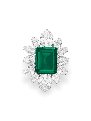 An emerald and diamond pendant brooch, by Bulgari. Sold for $6,578,500 on 13 December 2011 at Christie's in New York