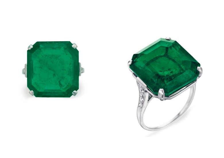 A Belle Époque emerald and diamond ring, by Cartier. Sold for $250,000 on 6 December 2017 at Christie's in New York