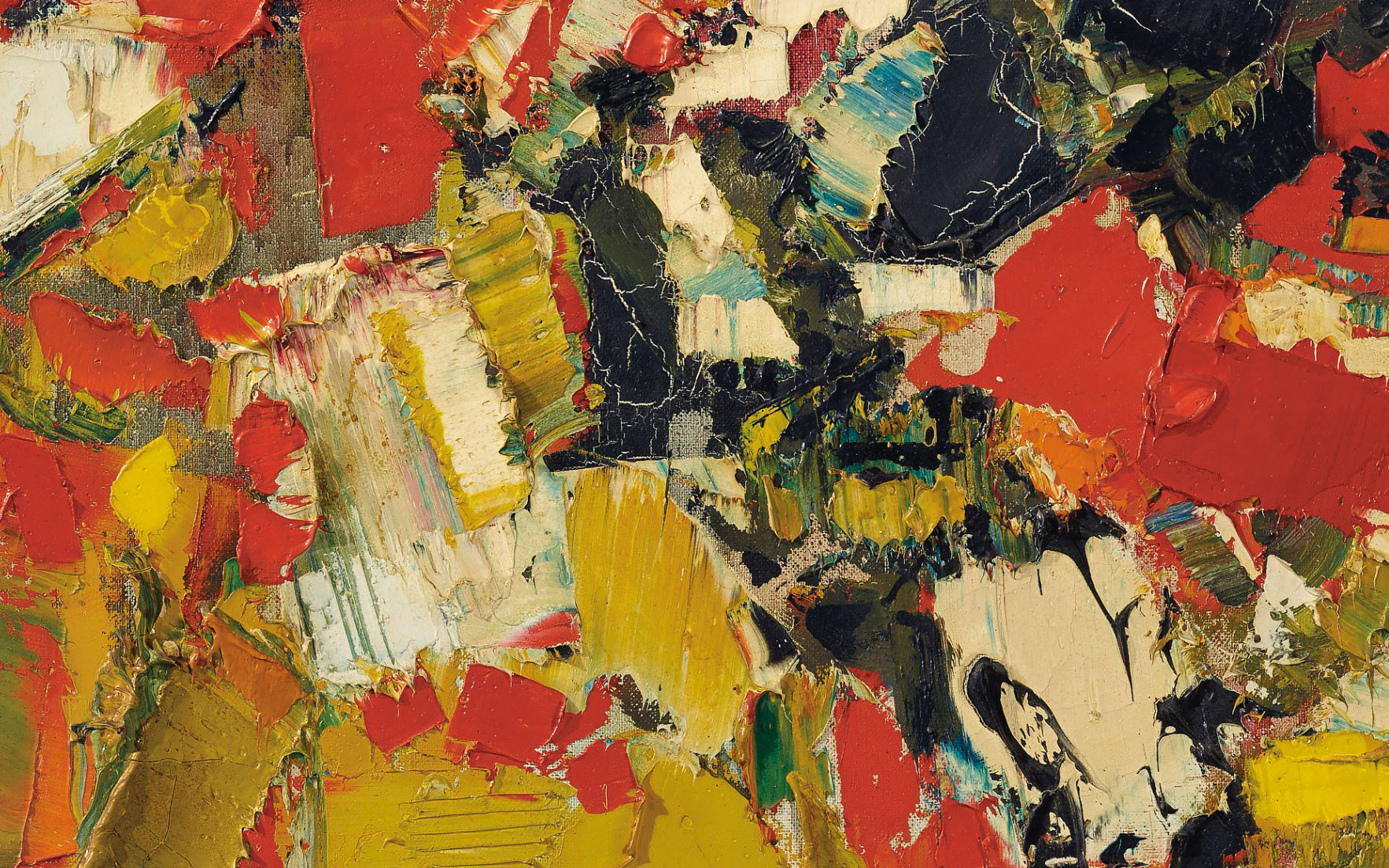 (Detail) Sayed Haider Raza (1922-2016), Plein Soleil, 1961. 36¼ x 28⅞  in (92.1 x 73.3  cm). Sold for $187,500 on 20 March 2019 at Christie's in New York