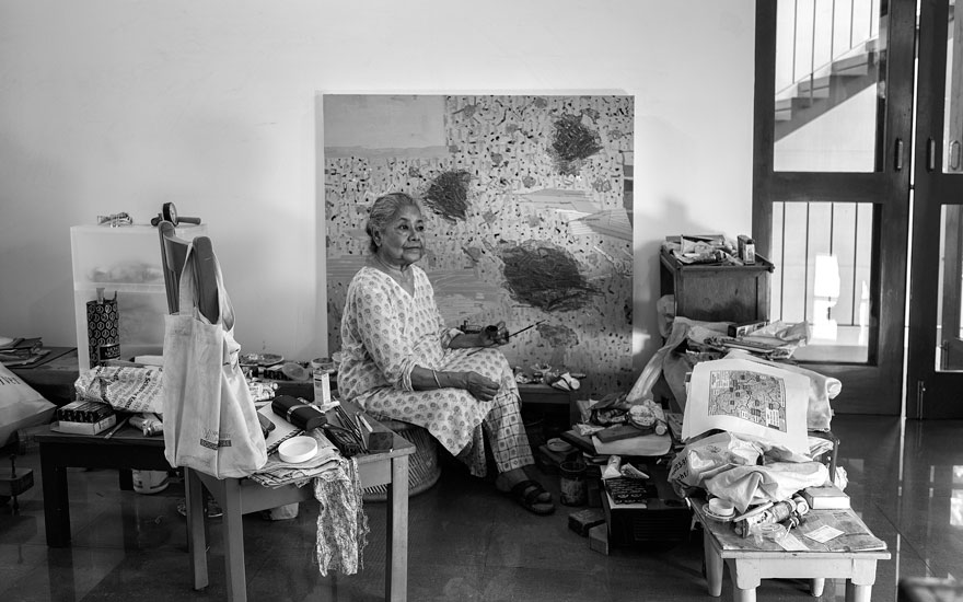 Arpita Singh photographed in her studio. Photo © Rohit Chawla