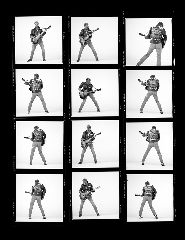 A contact sheet from the video shoot for the single Faith. Photographs by Chris Cuffaro