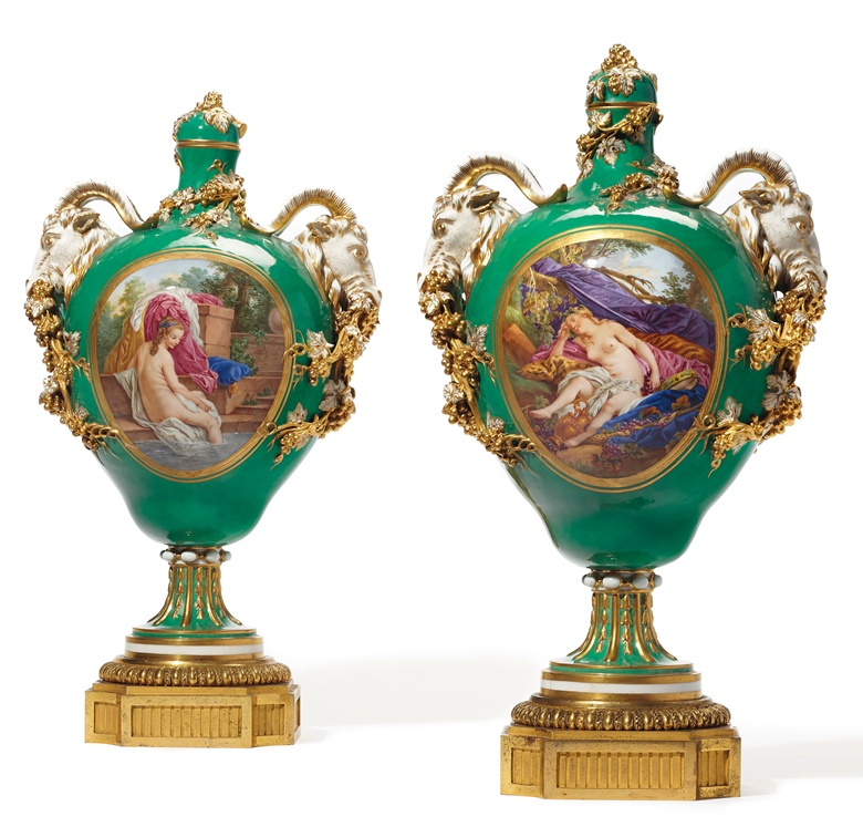 A pair of Ormolu-mounted Sèvres porcelain green-ground vases and covers, circa 1770. Estimate $80,000-120,000. Offered in The Desmarais Collection on 30 April 2019 at Christie's, New York