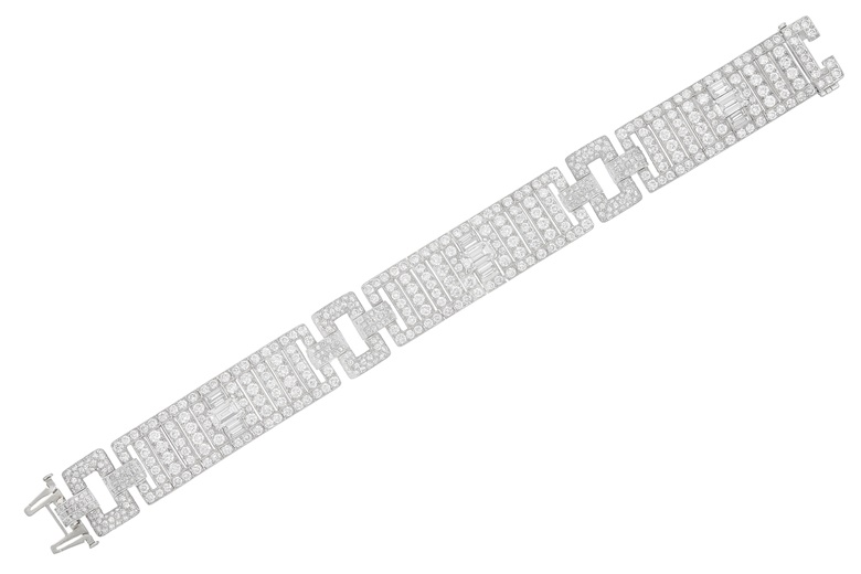 An Art Deco diamond bracelet by Raymond Yard. Sold for $30,000 on 16 April 2019 at Christie's in New York
