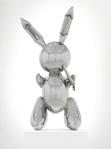 This faceless quicksilver rabbit manages to embody whole ranges of references while at the same time remaining deadpan and aloof Disney, Playboy, childhood, Easter, Brancusi, Lewis Carroll, Frank Capra's Harvey, Marcel Duchamp's readymades, Andy Warhol's Clouds, without ever plumping for a single meaning. Artwork © Jeff Koons