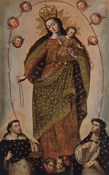 Anonymous (Peruvian, 18th century), Virgen del Rosario. Oil on canvas. 80⅞ x 50⅞ in (205.74 x 129.54 cm). Estimate $40,000-60,000. Offered in Latin American Art on 22-23 May 2019 at Christie's in New York