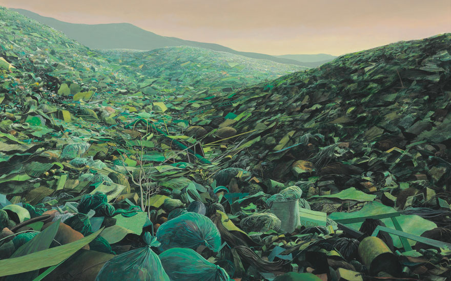 Tomás Sánchez (b. 1948), Basurero verde para falsos ecologistas, 1996. Acrylic on canvas. 42⅜ x 58⅛ in (107.7 x 147.7  cm). Estimate $120,000-180,000. Offered in Latin American Art on 22-23 May 2019
