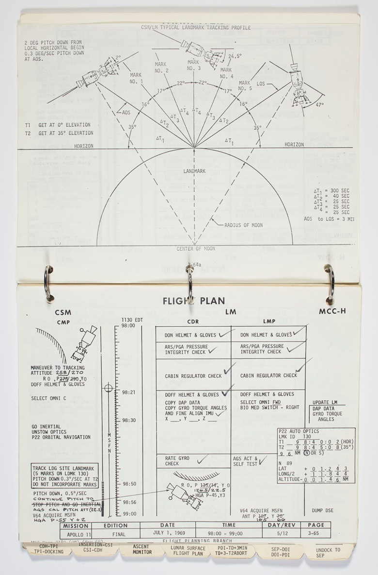 Apollo 11 Lunar Module Timeline Book. [Houston] Manned Spacecraft Center, Flight Planning Branch, June 19-July 12, 1969. Flown aboard the Lunar Module Eagle and annotated by Neil Armstrong and Buzz Aldrin as they landed on the moon