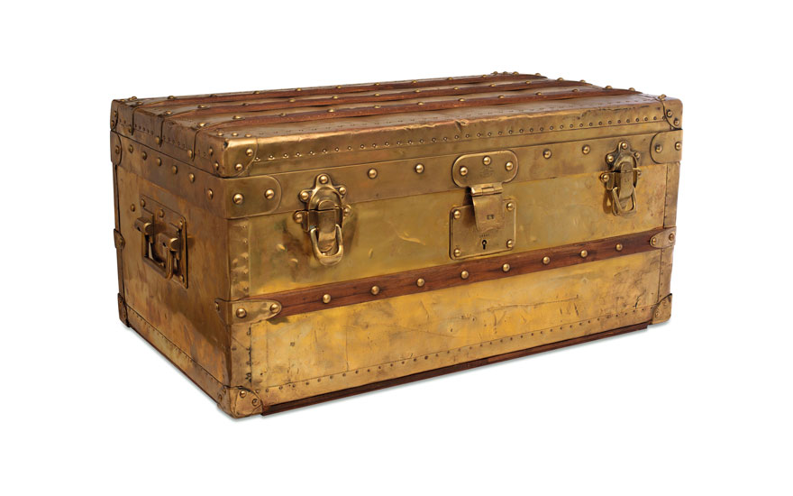 A rare, brass explorer trunk, Louis Vuitton, 1888. 70 w x 33.5 h x 41.5 d cm. Sold for HK$1,250,000 on 29 May 2019 at Christie's in Hong Kong