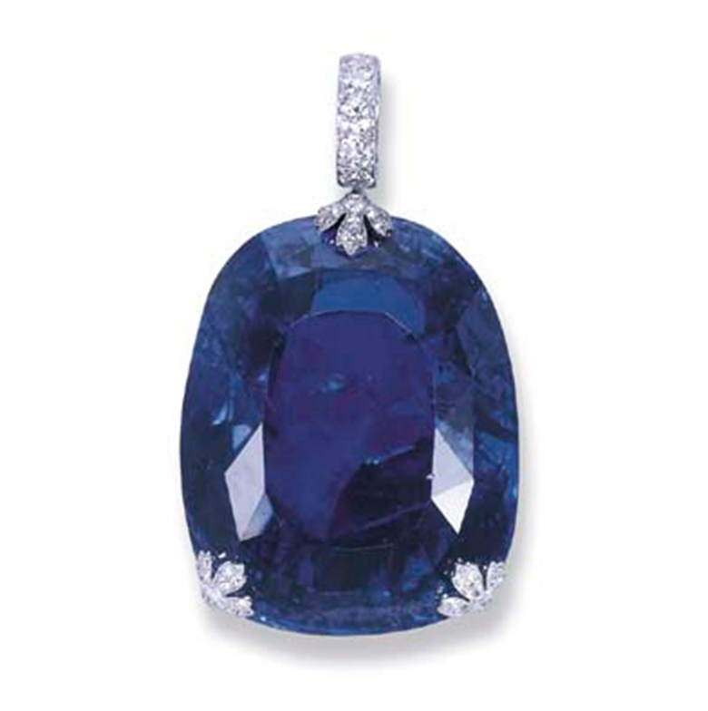 A magnificent and historic sapphire pendant, by Cartier. Sold for CHF1,916,000 on 19 November 2003 at Christie's in Geneva