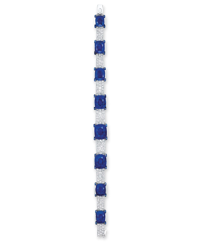 An exceptional Art Deco sapphire and diamond bracelet, by Cartier. Sold for HK$56,120,000 on 30 May 2016 at Christie's in Hong Kong