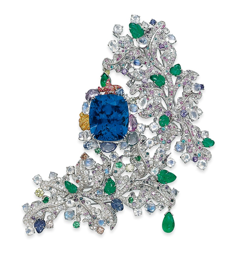 The unique sapphire and multi-gem Côte D'Azur brooch, by Anna Hu. Sold for CHF4,197,000 on 12 November 2013 at Christie's in Geneva