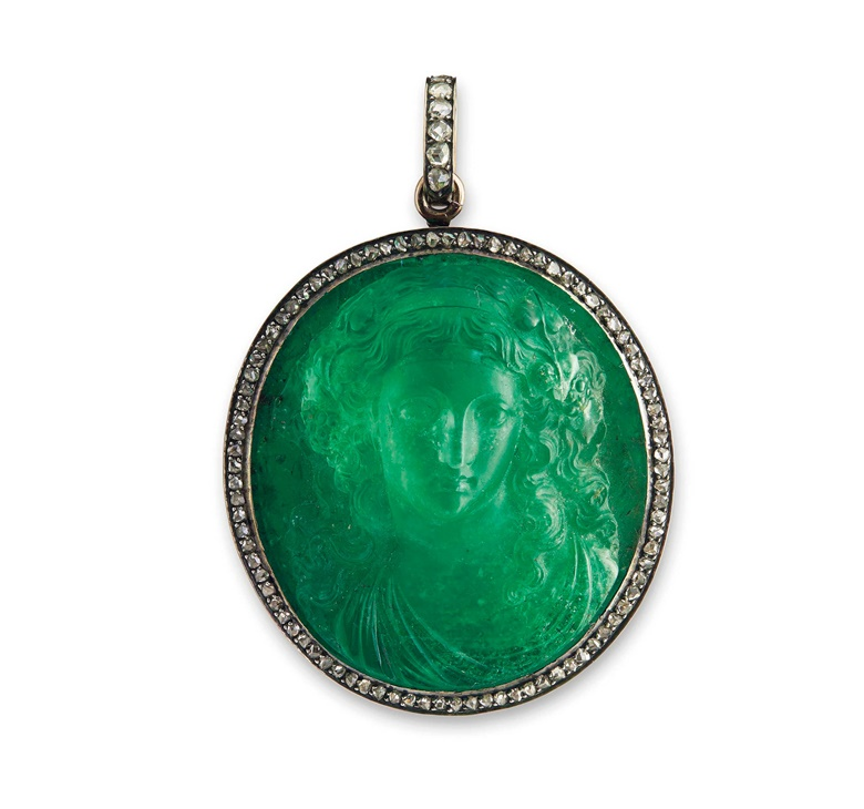 A historic emerald and diamond pendant. Sold for CHF 181,250 on 15 November 2016 at Christie's in Geneva
