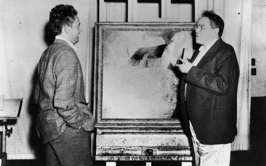 N.C. Wyeth (right) and his son Andrew Wyeth in N.C. Wyeth's studio, circa 1942. Photo Edward J. S. Seal (1896-1955), photographer. Courtesy of the Brandywine River Museum of Art, Chadds Ford, PA