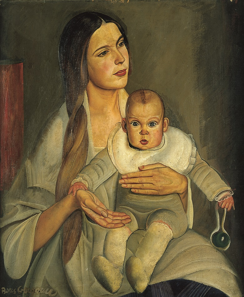 Boris Grigoriev (1886-1939), Motherhood, circa 1926. Oil on canvas. 30¼ x 24⅞ in (77 x 63.2 cm). Sold for £40,000 on 12 July 1997 at Christie's in London
