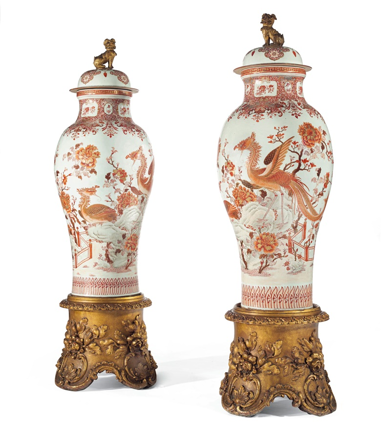 Important pair of iron-red porcelain 'soldier' vases, China, Qing Dynasty, Qianlong period (1736-1795). Height 53¾ in (136.5 cm). Sold for €235,500 on 28 November 2017 at Christie's in Paris