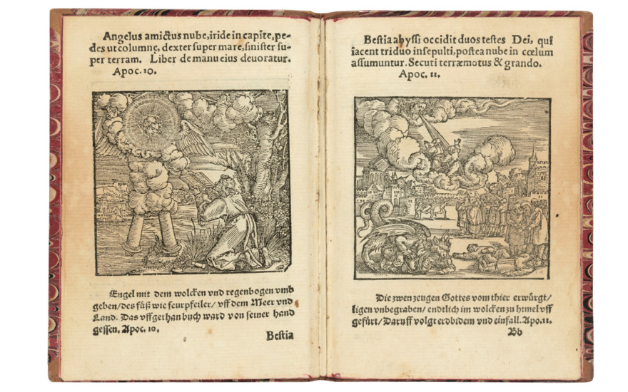 Apocalypsis Ioannis Bible, S. Johannis. Frankfurt, 1551. Small octavo (133 x 93mm). Woodcut vignette on title and 30 half-page woodcuts. Estimate £4,000-6,000. Offered in Valuable Books and