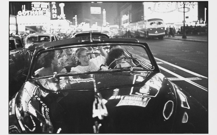 Louis Faurer (1916-2001), Broadway Convertible, New York City, 1950. Gelatin silver print, printed 1970s. Image 8½ x 12⅝ in (21.4 x 32 cm); sheet 11 x 14 in (28 x 35.7 cm). Estimate
