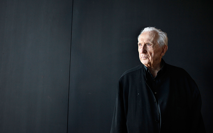 Pierre Soulages visits the museum which bears his name, in Rodez, France. Photo Patrick Aventurier Getty Images. Artwork © Pierre Soulages, DACS 2019