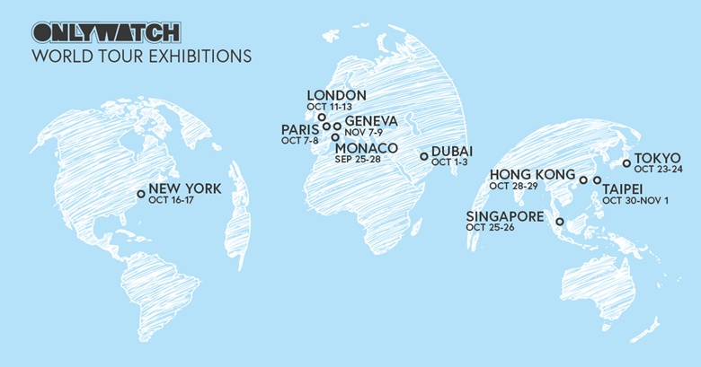 The Only Watch World Tour Exhibition map