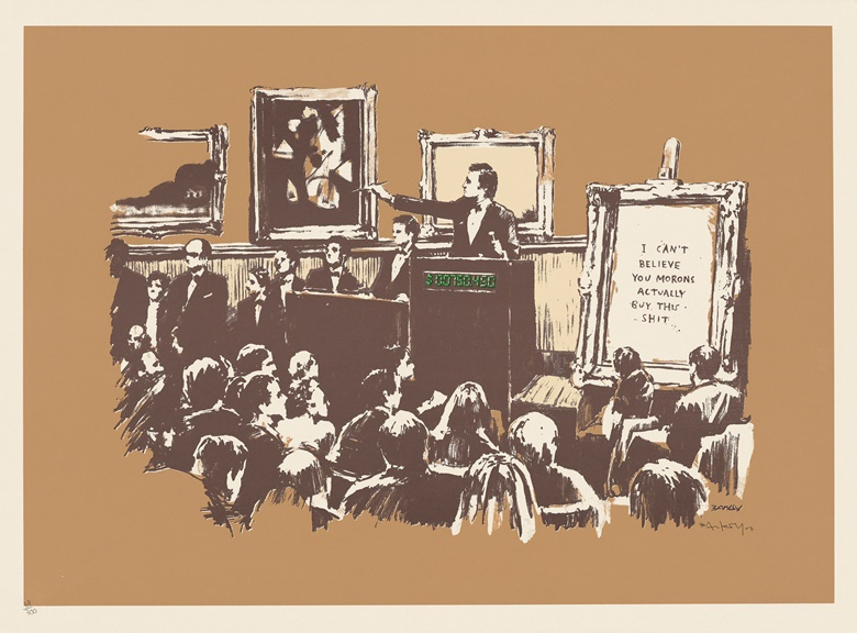 Banksy (b. 1975), Morons Sepia, 2007. Screenprint in colours, signed. Image 499 x 710 mm, sheet 565 x 760 mm. Sold for £32,500 in Banksy I cant believe you Morons actually buy this sht, 11-24 September, Online. Artwork Courtesy of Pest Control Office