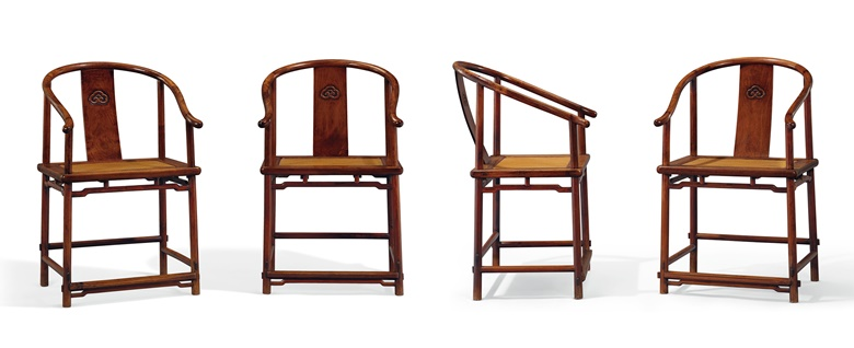 A very rare and superb set of four huanghuali horseshoe-back armchairs, quanyi, 17th century. 37½ in (95.3 cm) high, 23 in (58.5 cm) wide, 17¾ in (45.1 cm) deep. Estimate $800,000-1,200,000. Offered in Important Chinese Ceramics and Works of Art on 13 September 2019 at Christie's New York