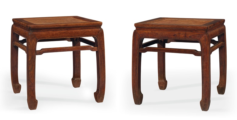 A rare pair of huanghuali rectangular waisted stools, changfangdeng, 17th-18th century. 20¼ in (51.3 cm) high, 19¾ in (51 cm) wide, 18⅜ in (46.6 cm) deep. Estimate $100,000-150,000. Offered in Important Chinese Ceramics and Works of Art on 13 September 2019 at Christie's New York