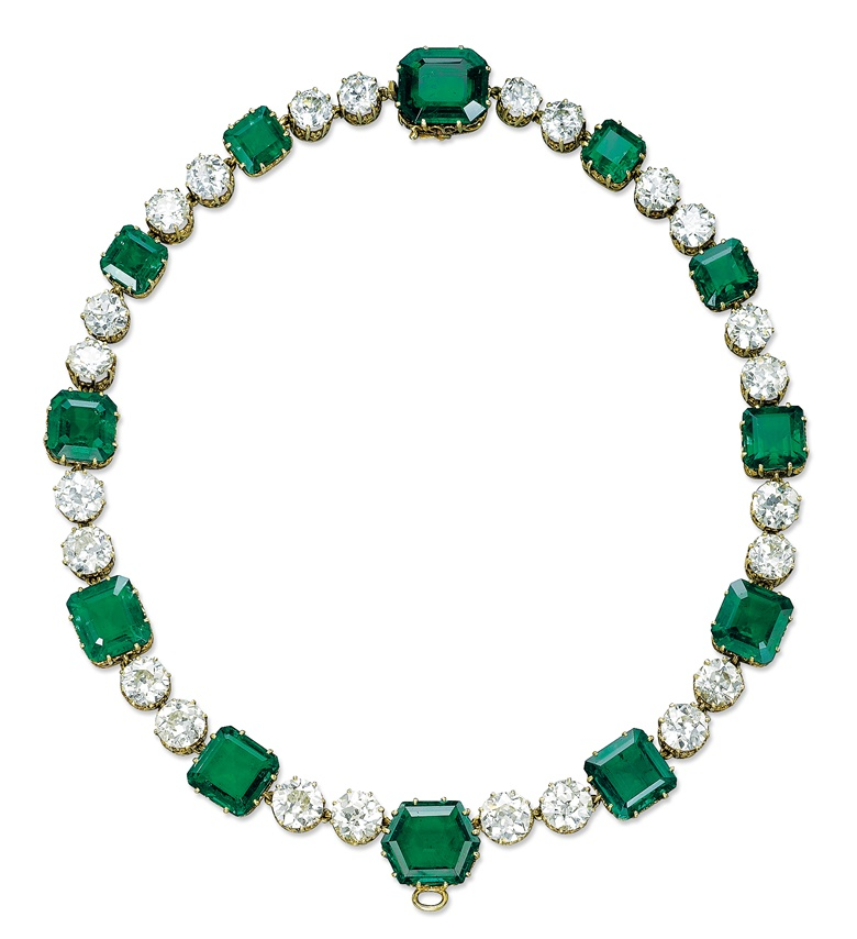 A magnificent emerald and diamond necklace by Cartier. Sold for CHF 9,125,000 on 12 November 2013 at Christie's in Geneva