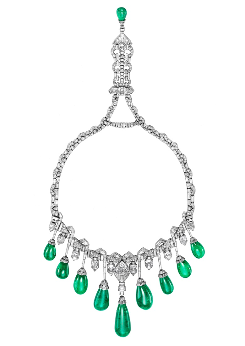 An Art Deco emerald and diamond necklace by Van Cleef & Arpels. Sold for CHF 3,861,000 on 12 November 2013 at Christie's in Geneva