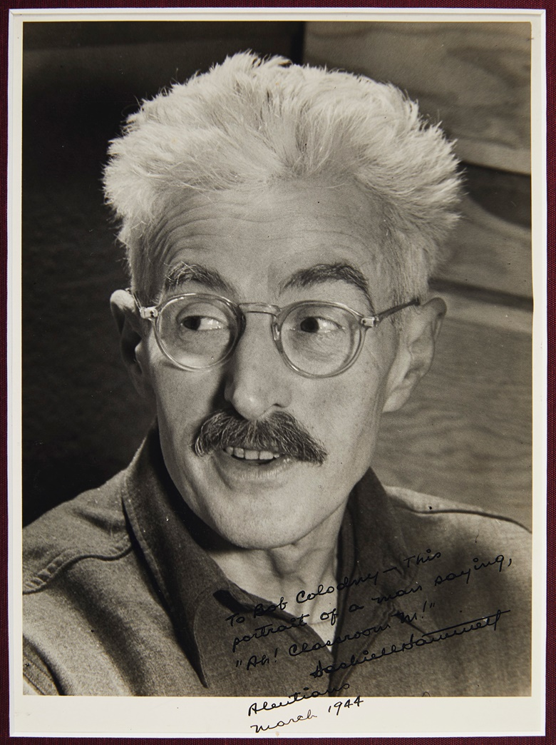 Dashiell Hammett (1894-1961). Silver gelatin black & white print, inscribed and signed ('Dashiell Hammett'), Aleutian Islands, March 1944. A portrait of Hammett, inscribed to his army buddy. Estimate $3,000-5,000. Offered in Fine Printed Books and Manuscripts Including Americana on 25 October at Christie's in New York