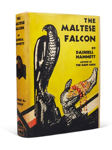 Dashiell Hammett (1894-1961). The Maltese Falcon. New York Knopf, 1930. The first edition of one of the most influential detective novels ever written, in its iconic dust jacket, with a rare inscription from the author. Estimate $60,000-80,000. Offered in Fine Printed Books and Manuscripts Including Americana on 25 October at Christie's in New York