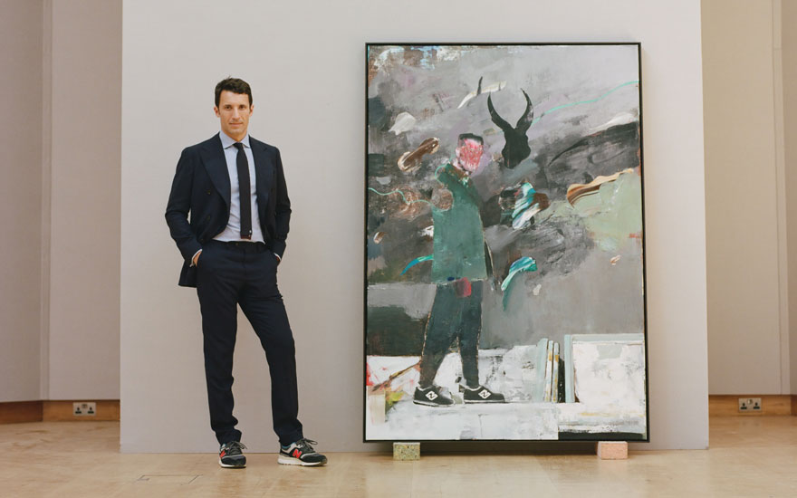 Cristian Albu with Adrian Ghenie's Self-Portrait in 1945, 2014. Oil on canvas. 78⅞ x 55 in (200.2 x 140 cm). Estimate £1,200,000-1,800,000. Offered in the Post-War and Contemporary Art