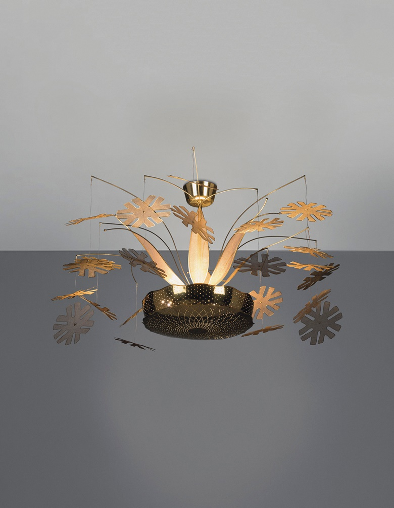 Paave Tynell (1890-1973), a rare Snowflake ceiling light, model no. 10109, 1950s. 18 x 39½ in diameter (46 x 100 cm). Estimate £35,000-45,000. Offered in Design on 16 October 2019 at Christie's in London