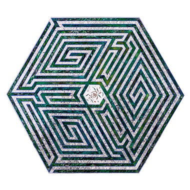 Monir Farmanfarmaian (1924-2019), Hexagon (Maze), 2012. Sunset, Sunrise retrospective at Sharjah Art Foundation. © Monir Shahroudy Farmanfarmaian